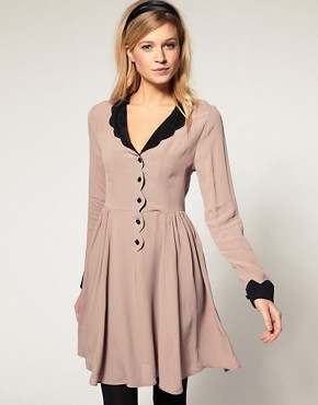 Image 1 of ASOS Collar Dress with Scallop Detail