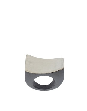 Image 1 ofASOS Carved Wooden Ring With Metal Top