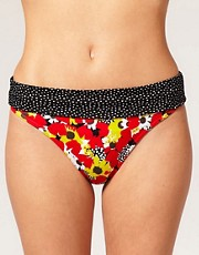 buy Freya Flamingo Spot & Floral Print Fold Over Bikini Brief by Flamingo in swimsuits shop