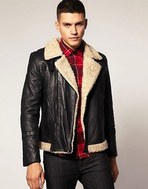 Barneys Button Aviator Leather Skin Jacket