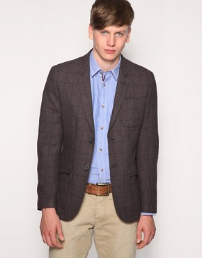 Selected Tweed Jacket With Tartan Lining