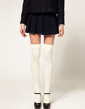 Image 1 of ASOS Wool Cable Over The Knee Socks