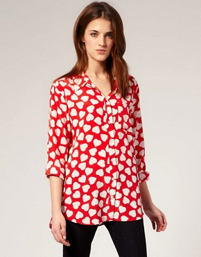 Image 1 of Equipment Heart Print Oversized Silk Shirt