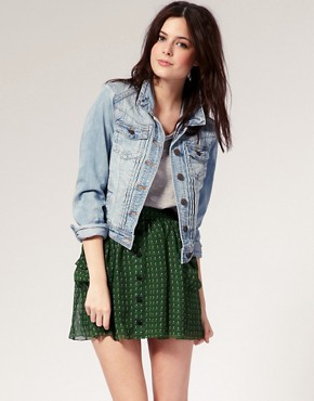 River Island - Pleat Front Denim Western Jacket :  jacket jeans river island pleat front denim western jacket denim jacket