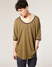 ASOS BLACK Scoop Neck T-Shirt With Jersey Trim