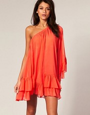 TFNC Dress One Shoulder Tiered Frill Hem Shift