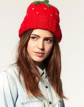 Image 1 of ASOS Strawberry Knitted Beanie Hat