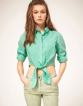 Image 1 of ASOS Cropped Tie Front Denim Shirt in Mint Green