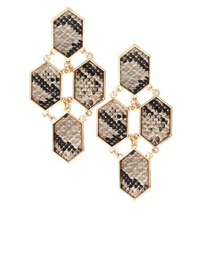 Image 1 of ASOS Python Print Chandelier Earrings