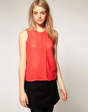 Image 1 of ASOS Shell Top with Pleat Front