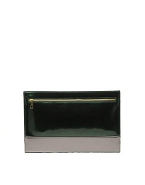 Image 1 ofASOS Flat Zip Contrast Clutch