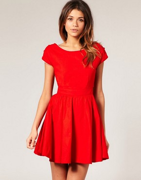 Motel | Motel Gemma Cut Out Waist Contrast Trim Dress at ASOS from us.asos.com