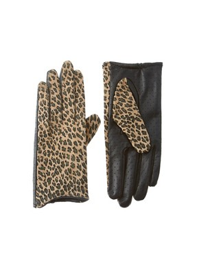 Image 1 of ASOS Leather Leopard Cut Away Lady Gloves