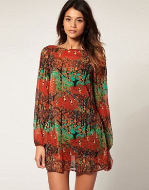 Vero Moda - Deco Forest Print Sheer Chiffon Tunic Dress :  vero moda tunic dress tuinc vero moda deco forest print sheer chiffon tunic dress