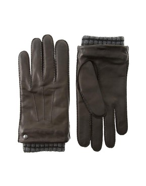 Ted Baker Ribbed Cuff Leather Gloves