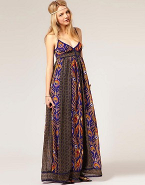 Image 4 of Pepe Jeans Peacock Printed Maxi Dress