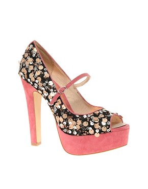 Image 1 of ASOS PEPPER Sequin and Suede Platform Peep Toe Court Shoe