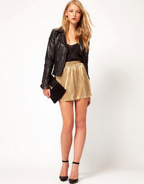 Image 1 of&#160;ASOS Skater Skirt in Metallic