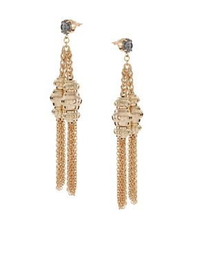 Image 1 of ASOS Drop Earrings with Chain and Tassel Detail