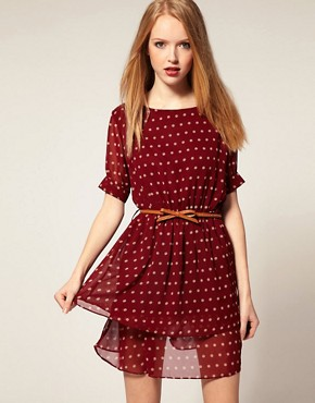Image 1 ofDahlia Chiffon Tiered Dress in Spot Print