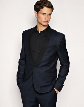 ASOS Shawl Collar Slim Fit Tuxedo Navy Jacket