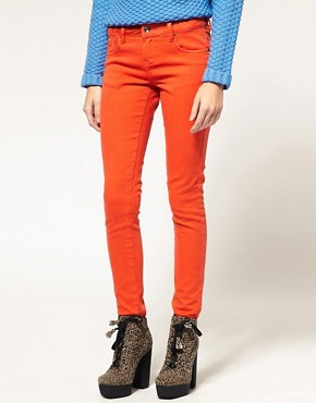 Image 1 of ASOS Flame Orange Skinny Jeans #4