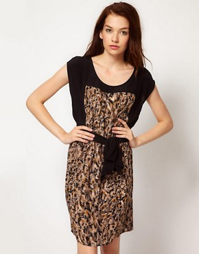 Kookai Smudge Print Dress With Belt from us.asos.com
