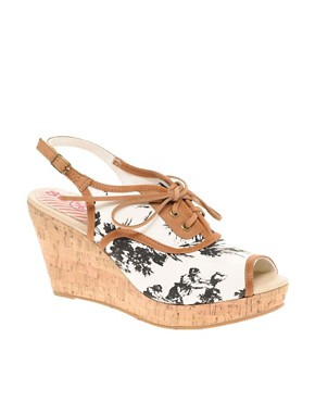 80%20 | 80%20 Yossi French Country Print Lace Up Peep Toe Wedges at ASOS :  floral sandal wedge country