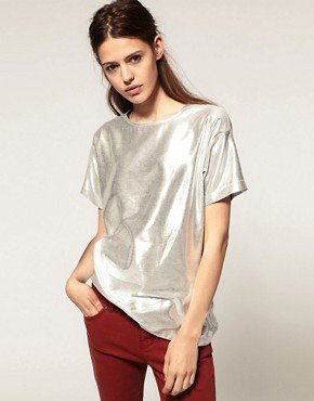 Image 1 ofASOS Metallic Woven T-shirt