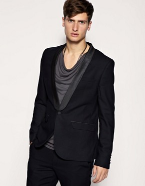 ASOS Glitter Trim Slim Fit Tuxedo Black Jacket