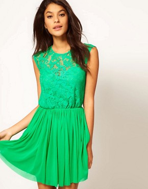 Image 1 of&#160;ASOS Skater Dress With Lace And Mesh