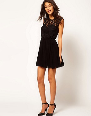 Image 4 of ASOS Skater Dress with Lace and Mesh