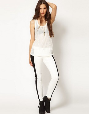 Image 1 of rag & bone /JEAN Split Skinny Jean in Black and White