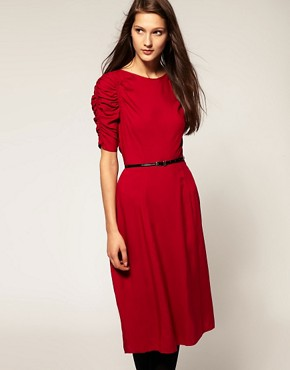 Image 1 of ASOS 40s Midi Dress With Exaggerated Sleeves
