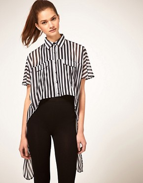 ASOS | ASOS Shirt With Dip Sides In Stripe at ASOS