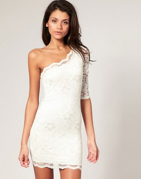 Image 1 of ASOS Lace One Sleeve Body-Conscious Dress