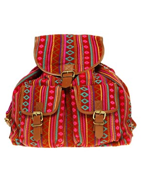 Image 1 of ASOS Bright Aztec Backpack With Leather Straps