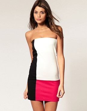 Image 1 of ASOS Bandeau Dress in Color Block