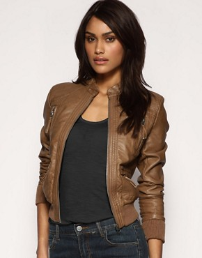 Image 1 of ASOS PU Seamed Bomber