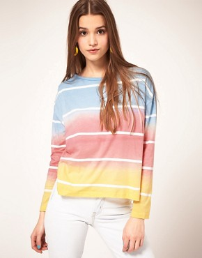 Image 1 of ASOS Top with Rainbow Stripe