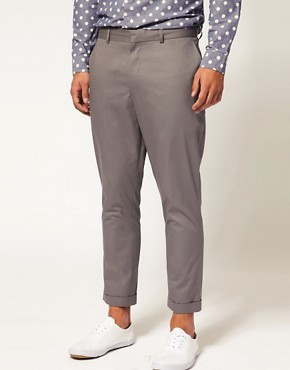 ASOS Carrot Fit Cropped Grey Trousers