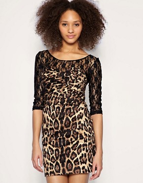 Paprika | Paprika Dress Lace Top Leopard Print at ASOS :  lace asos leopard clothing