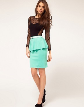 Image 1 of Paprika Peplum Belted Skirt