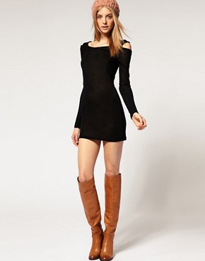 Vero Moda | Vero Moda Knitted Scoop Neck Cut Out Shoulder Dress at ASOS from asos.com
