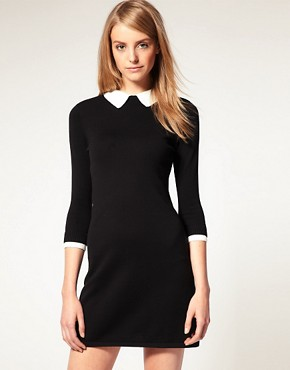 Image 1 of ASOS Knitted Dress With Lace Collar