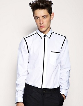 ASOS BLACK Piped Seam Slim Shirt