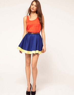 Image 1 of&#160;Rare Colourblock Hem Skirt With Belt