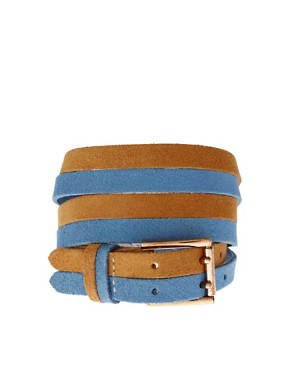 Image 1 of ASOS Suede 2 prong color block belt