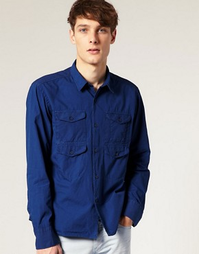 J.Lindeberg Howard Dyed Poplin Military Inspired Shirt