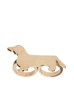Image 1 ofASOS Double Finger Sausage Dog Ring